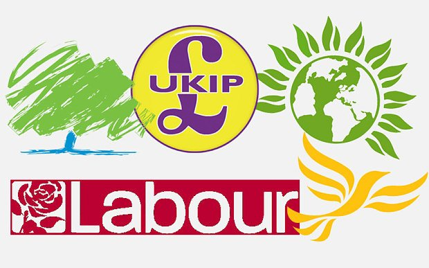 logos of 5 main UK political parties